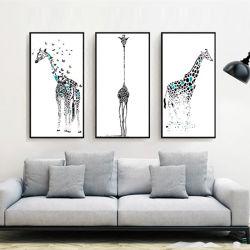 3 部分は現代壁の芸術の油絵動物の女の子キャンバスの芸術を塗る 印刷