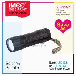 Imee tamaño del logotipo de mayorista de material plástico de forma personalizada de metal negro acrílico LED Linterna