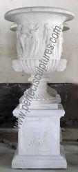 Jardim grande Decoração Novo Design de arte em pedra mármore Produto Flower Pot (QFP216)