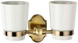 Insieme di ceramica del supporto di tazza del doppio del toothbrush supporto dorato in lega di zinco della chiavetta