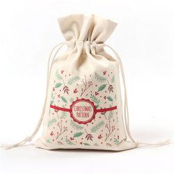 Großverkauf kundenspezifischer Entwurfs-Festival-Saisongeschenk-Weihnachtsnahrungsmittelbeweglicher mehrfachverwendbarer Förderung-Beutel, der doppelten Zug-Netzkabel-Musselin-Segeltuch-Baumwolldrawstring-Beutel packt
