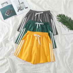 여자 소녀 운동복 매일 착용 옷을%s 졸라매는 끈 우연한 소형 간결을%s 가진 주문을 받아서 만들어진 여름 고품질 100%년 면 세로줄 디자인