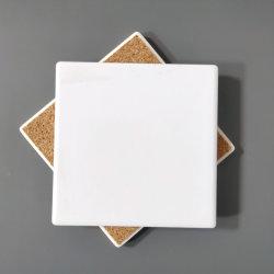 Sottobicchiere di ceramica bianco in bianco all'ingrosso