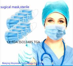 使い捨て可能な医学の外科マスクタイプ3つの層のIirの伸縮性がある耳のループが付いている3つの層マスク、生殖不能の塵マスク、99.6%フィルター