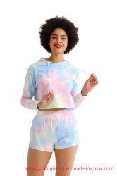 여자의 면 스웨터 스웨트 셔츠 동점 염료 작물 상단 Hoodie와 간결은 적당한 우연한 양털 두건이 있는 스웨트 셔츠를 푼다