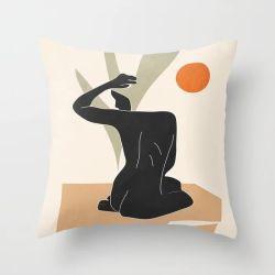 현대 북유럽 추상적인 초상화 베개 덮개 홈 소파 방석 덮개