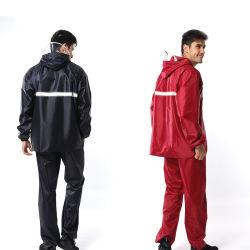 PVC安い流行のあや織りのオックスフォード高密度ファブリックカスタム防水フード付きの反射レインコート