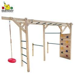 6 in 1 Houten Fitness apparatuur Monkey Bar met klimmen Ladder en Dic Swing