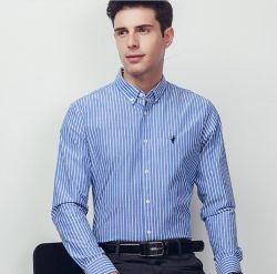 상업용 스트라이프 프린티드 남성용 셔츠 퓨어 코튼 비즈니스 남성용 S 셔츠