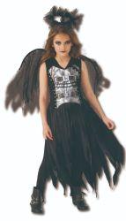 Gefallenes Engels-Kleid Halloween-Girl'costumes Schwarzes mit grossen Flügeln