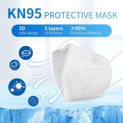 5 ply KN95 FFP1, FFP2 Flodable descartáveis adulto de protecção sonora Haze Pó cirúrgico Médico Máscara