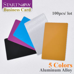 Startnow 100PCS/lote Multicolor Business Card branco liso Cartões de Nome da liga de alumínio a folha de metal Debugging gravada a laser máquina de marcação