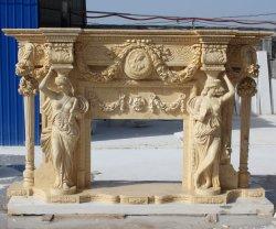 柱の聖母像彫刻の大理石の暖炉と花( SY-MF178 )