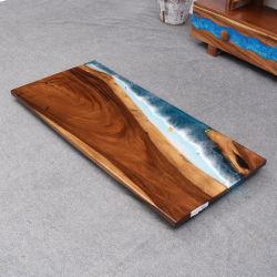 Haute qualité cristalline en bois massif de la Table Table à manger de résine époxy