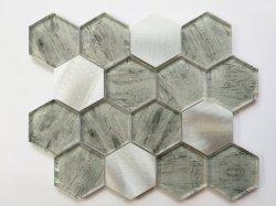 Серые зерна из светлого дерева с шестигранной головкой 73стеклянной мозаики плитки для монтажа на стену оформление Gys-1080
