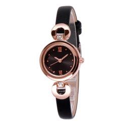 Horloge van het Ontwerp van het Roestvrij staal van het Merk van het Kwarts van het Ontwerp van de fabriek het Recentste Zwarte Gouden voor Dames