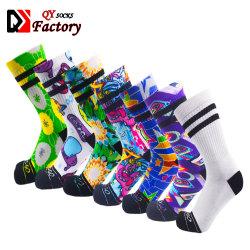 L'abitudine ha stampato calzini in bianco dello spazio in bianco di sublimazione stampati cotone di Digitahi degli uomini senza giunte dei calzini 3D 360