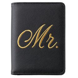 Bordados sr. e sra Senhoras PU Design titular do passaporte o dom perfeito Wallet para Mulheres