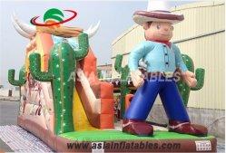 Ковбой парк развлечений надувной игровой площадкой с помощью слайда