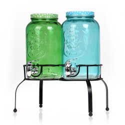 Comercio al por mayor de bebidas beber agua del tanque dispensador de zumo de vidrio doble