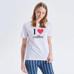 주문 로고를 가진 유기 면 여자의 대원 목 t-셔츠