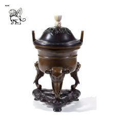 Tamaño de la decoración personalizada templo chino trípode de bronce metal incensario Btum-04