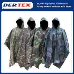 À prova de camuflagem respirável PVC durável Raincoat Poncho