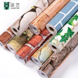 중국 공장 공급 Stone Vinyl Wall Paper Rolls 3D Brick 방수 벽지 벽 코팅 PVC 접착식 배경 무늬