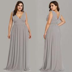 En stock Plus Size robe de soirée en mousseline robe col V Celebrity prom robes de mariage formel robe de soirée