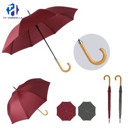 Long Stick Abrir automaticamente a cor pura Umbrella com pega de madeira