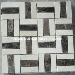 クリーム色のMarfilおよびDark Emperador Marble Mosaic Tile (HSM112)