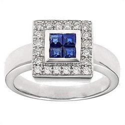 Ring des weißes Gold18k mit Diamanten und Edelstein (LRG1266)