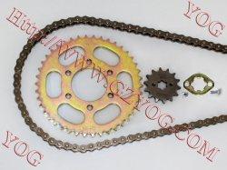 Bajaj Boxer용 YOG 오토바이 부품 오토바이 전송 키트에는 다음이 포함됩니다 체인 및 스프로킷