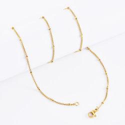 Ontwerp van de Juwelen van de Manier van de Halsband van de Keten van de Rand van de Bal van de Keten van de Link van het Roestvrij staal van de Toebehoren van de manier het Satelliet