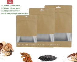 평평한 바닥면과 보강판 측면 Bag에 Bio Gradable Paper Material 알루미늄 호일 및 Window가 있는 파우치