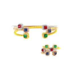多色刷りの正方形のラインストーンの腕輪の方法宝石類の簡単なビードデザインブレスレット