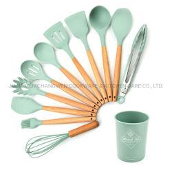 l'articolo da cucina 11PCS ha impostato non gli utensili della cucina del silicone del bastone impostati con la maniglia di legno