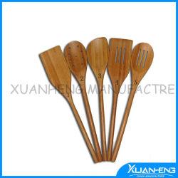 Poignée longue petite cuillère de bambou imprimé