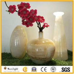 Comercio al por mayor artesanía en piedra de mármol ónix Natural Jarrón de flores