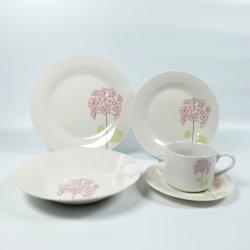 China Comercio al por mayor 20pcs cena de cerámica de porcelana con taza y plato