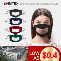 Commerce de gros Communicator Timtex Factory Direct Tissu avec fenêtre claire et le nez sur le fil La lecture labiale sourire coton masques transparents