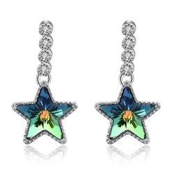 925 Sterling Silver Star Shaped Crystal Hanger Oorbellen