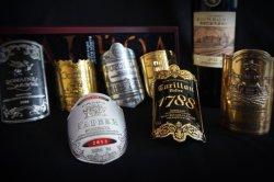Contrassegno del metallo della bottiglia di whisky del vino rosso di alta qualità