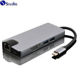 Hub USB et port USB de type moyeu-C Hub USB 3.0 Hub avec UHD a avec une interface LAN Gigabit avec Hdm I+ + USB3.0 VGA + SD + TF + pd