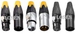 Novo Conector Cannon XLR cromado plugue fêmea Macho do Cabo de microfone