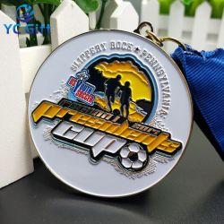 De professionele Aangepaste Olympische Voetbal van de Medaille van de Ambachten van de Kunst van het Metaal van het Email van de Legering van het Zink personaliseerde de Gegraveerde Medaille van de Toekenning van de Sporten van de Herinnering van de Medaille van de Naam van Plaques (MD03)
