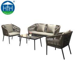 2019 Populares Corda de Design de tecidos de pátio exterior Fruniture sofá com mesa de café