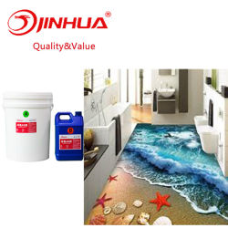 Nessun-Slittare la doppia resina a resina epossidica di cristallo dell'autoadesivo del PVC 3D delle componenti ab per il pavimento, decorazione della parete