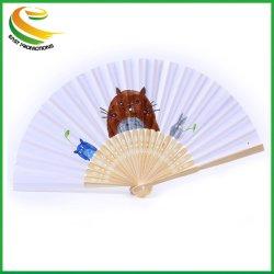 Los niños DIY Plain Papel Artesanal Abanicos de ventilador de Mano de bambú