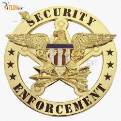 Наиболее популярные Металлический бейдж 3D-Eagle логотип циркуляр Имитация золота механизма
